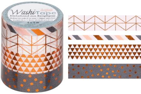 Masking tape géométriques - 4 rouleaux motifs métallisés - Adhésifs colorés et Masking tape – 10doigts.fr