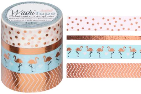 Masking tape rosé - 4 rouleaux motifs métallisés - Adhésifs colorés et Masking tape – 10doigts.fr