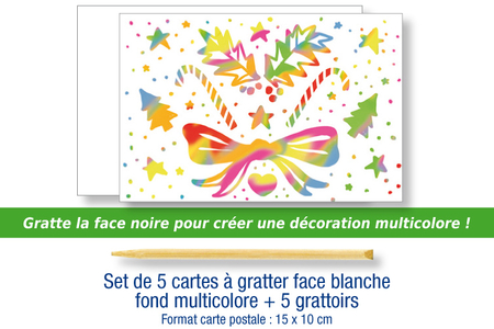 Set de 5 cartes à gratter face blanche fond multicolore + 5 grattoirs - Cartes à gratter, cartes à sabler – 10doigts.fr