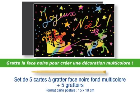Set de 5 cartes à gratter face noire fond multicolore + 5 grattoirs - Cartes à gratter, cartes à sabler – 10doigts.fr