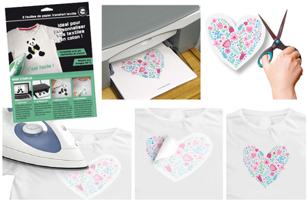 Papier transfert pour textile clair - 5 feuilles - Transferts et Thermocollants – 10doigts.fr