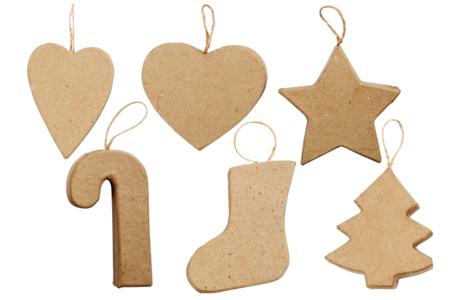 Ornements de Noël en carton - Set de 6 - Suspensions et boules de Noël – 10doigts.fr