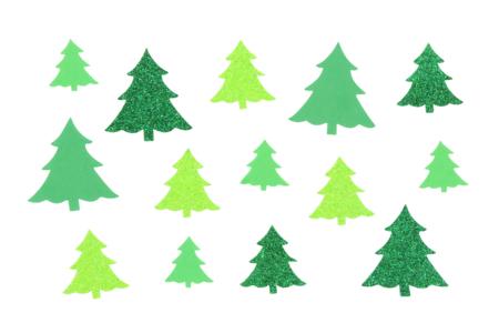 Sapins adhésifs caoutchouc mousse pailleté - 60 stickers - Gommettes et stickers Noël – 10doigts.fr
