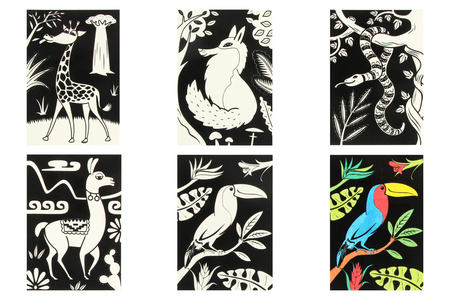Cartes coloriages velours animaux - 8 cartes - Supports pré-dessinés – 10doigts.fr