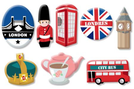 """Motifs """"Londres"""" en bois décoré - Set de 8 - Motifs peints – 10doigts.fr"""