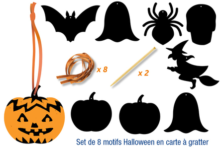 Cartes à gratter thème Halloween + accessoires - 8 formes - Cartes à gratter – 10doigts.fr