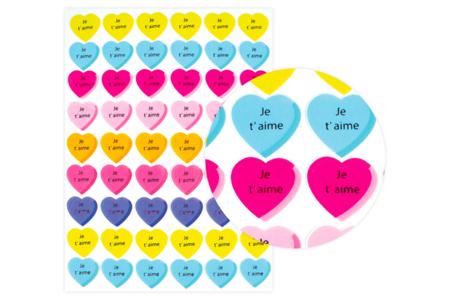 """Gommettes cœur """"Je t'aime"""" - 1 planche - Coeurs autocollants – 10doigts.fr"""