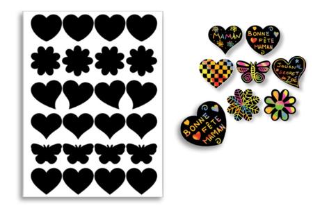 Stickers à gratter motifs assortis + 6 grattoirs - 82 stickers - Carte à gratter – 10doigts.fr
