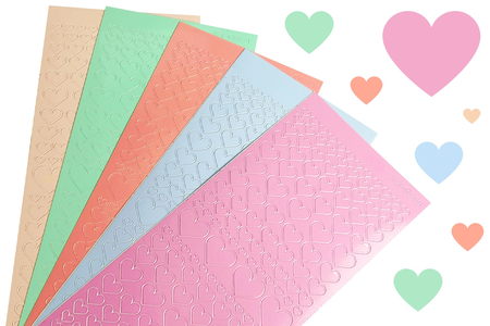 Stickers coeurs couleurs pastel - 795 stickers - Stickers, gommettes coeurs – 10doigts.fr