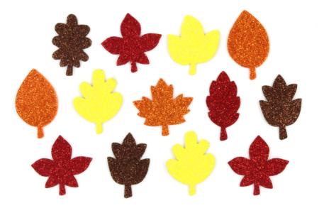 Stickers feuilles d'arbres en caoutchouc pailleté - Set de 200 - Formes en Mousse autocollante – 10doigts.fr