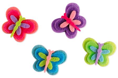 Stickers papillons en feutrine - Formes en Feutrine Autocollante – 10doigts.fr