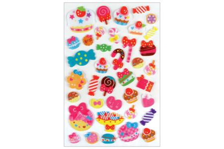 Stickers gourmandises 3D - 38 stickers - Décorations Anniversaire – 10doigts.fr