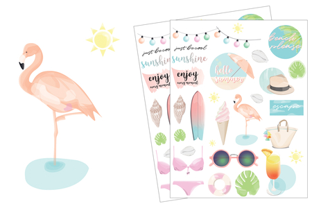 Stickers Summer Plage - 56 stickers - Décorations Printemps - Eté – 10doigts.fr