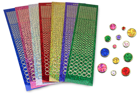 Stickers strass - 7 couleurs assorties - Stickers strass, cabochons – 10doigts.fr