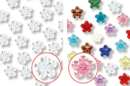 Minis strass fleurs adhésifs - 72 strass - Stickers strass, cabochons – 10doigts.fr