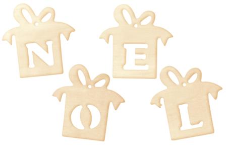 """Cadeaux """"NOEL"""" en bois naturel - Set de 4 - Décorations de Noël en bois – 10doigts.fr"""