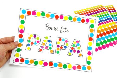 Tableau gommettes - Bonne fête papa - Fête des Pères - 10doigts.fr