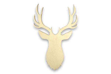 Tête de cerf bois - 19 cm - Motifs bruts – 10doigts.fr