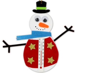 Bonhommes de neige thermomètre - Kit pour 12 créations - Kits d'activités Noël – 10doigts.fr