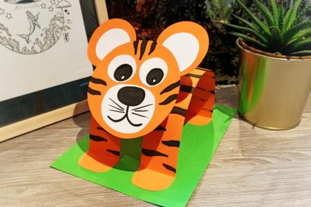 Tigre 3D en papier - Animaux – 10doigts.fr