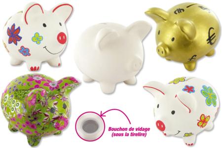 Tirelire cochon en céramique blanche - Activités enfantines – 10doigts.fr