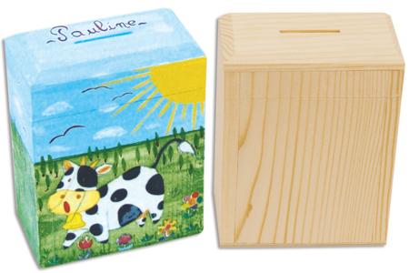 Peinture sur tirelire en bois - Décoration d'objets – 10doigts.fr
