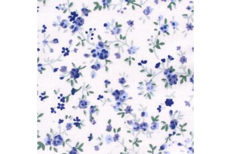 Coupon de tissu imprimé fleurs bleues - 43 x 53 cm - Coupons de tissus – 10doigts.fr