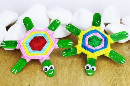 Tortues avec bâtonnets de glace - Activités enfantines – 10doigts.fr