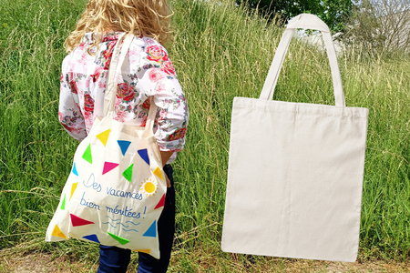 Tote bag à décorer (cadeau maitresse) - Textiles - 10doigts.fr