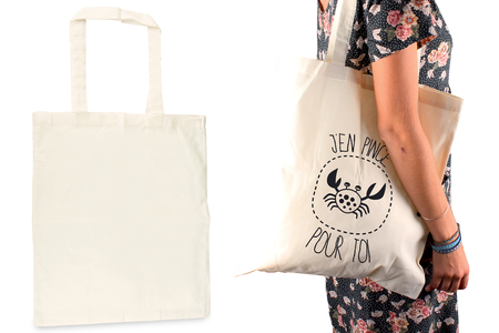Tote bag en coton naturel - Coton, lin – 10doigts.fr