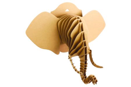 Trophée tête d'éléphant en carton à assembler - Objets décoratifs en carton – 10doigts.fr