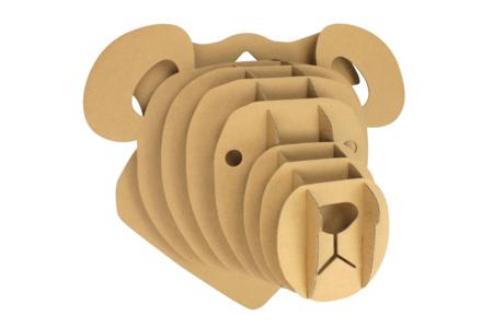 Trophée ours en carton à assembler - Maquettes en carton – 10doigts.fr