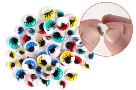 Yeux mobiles adhésifs colorés avec cils - Set de 48 - Yeux mobiles – 10doigts.fr
