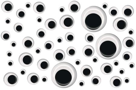 Yeux mobiles noirs à coller - Dimensions au choix - Yeux mobiles – 10doigts.fr