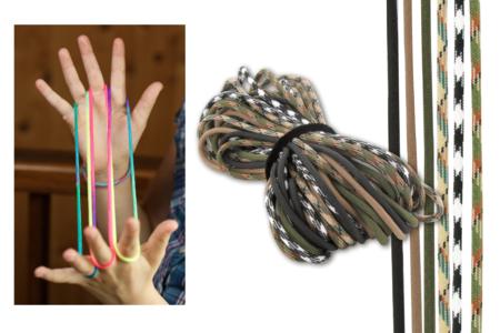 """Jeu de ficelle - 6 cordes couleurs """"ARMY"""" - Jeu de ficelle – 10doigts.fr"""