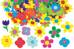 Fleurs brillantes en carte forte