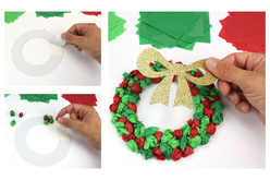 Couronne de Noël en papier de soie - Lot de 6 - Couronnes de Noël – 10doigts.fr - 2