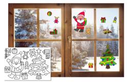 Stickers de Noël pour fenêtres à colorier