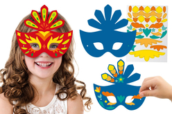 Masques Carnaval + gommettes + strass