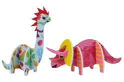 Dinosaures 3D en carton mousse à décorer - Set de 4 - Supports blancs – 10doigts.fr - 2