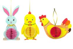 Suspensions de Pâques - Lapin, poussin et poule
