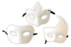 Masques Vénitiens en papier comprimé recyclé blanc