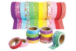 Tissus adhésifs assortis - 12 rouleaux - Adhésifs colorés et Masking tape – 10doigts.fr