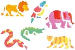 Set 6 pochoirs : ANIMAUX DE LA JUNGLE