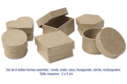 Set de 6 boîtes formes assorties en carton papier mâché