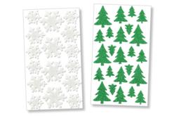 Stickers sapins et flocons pailletés - 40 stickers - Formes en Mousse autocollante – 10doigts.fr