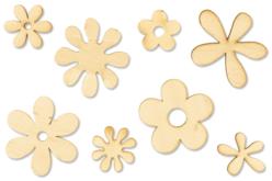 Fleurs en bois naturel - Set de 8 - Motifs brut – 10doigts.fr