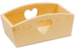 Corbeille rectangulaire coeur, en bois
