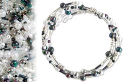 Kit bracelets farandole de perles fantaisie, en camaïeu argent