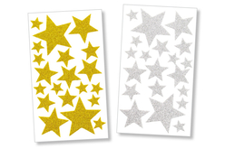 Set de 40 stickers étoiles en caoutchouc mousse pailleté